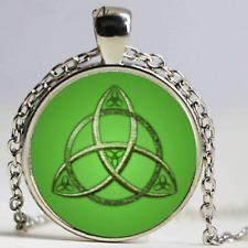 Nuevo Collar de cabujón de Plata Triquetra Celta Verde Pendiente Joyas Bolsa De Regalo