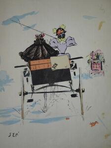 SEM (1863-1934) LITHO BELLE EPOQUE ART NOUVEAU CARICATURE CALECHE FEMME 1900