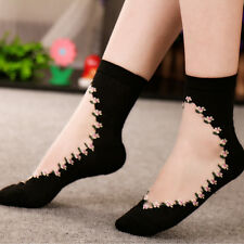 Summer Women Lace Socks Crystal Glass Silk Short Thin Transparent Flower Socks