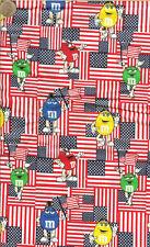 """RARE! M&M PATRIOTIC FLAG COTTON FABRIC - FQ - 18""""X22"""""""