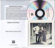LEROY HUTSON NOW THAT I FOUND YOU RARE 1 TRACK PROMO CD
