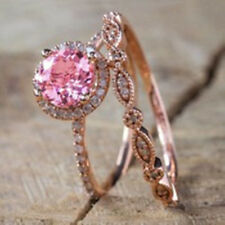 Antique 18K Rose Gold Morganite Gemstone Ring Set Wedding Women Jewelry Sz 6-10