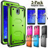 For Samsung Galaxy J7 V 2018/Star/Crown/Refine Hard Armor Case + Tempered Glass