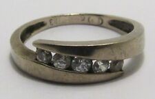 100% Genuine Vintage 9k Solid White Gold Cubic Zirconia Eternity Ring Sz 5.5 US