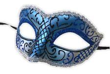 Glittery Half Mask Venetian Masquerade Swirls Costume Accessory Blue Silver E