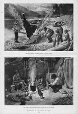 HUNTING LIFE INDIANS PITCHING DUGOUT CANOE BRITISH COLUMBIA HUT DINNER FIRE