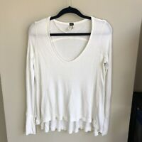 Free People Women's Size XS White Waffle Knit Thermal Long Sleeve Tunic Top