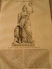 Statue colossale de la Bavière à Munich Gravure Print 1841