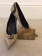 Authentic Gucci Vintage Horsebit Logo Heels, Court shoes,37 Uk4, 90s, Brown,Gold