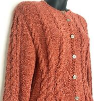 Vtg Anne Klein II Womens Cardigan Sweater Chenille Burnt Orange Cable Knit Small