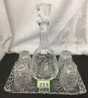 VINTAGE QUALITY CUT CRYSTAL DECANTER ON DECORATIVE TRAY with 4 GLASSES/TUMBLERS