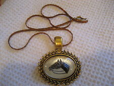 Horse Head Necklace Reverse carved /painted Vintage intaglio glass Bay Horse