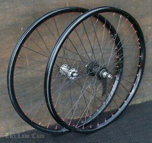 """26"""" Black Cruiser Bike WHEELS Red Nipples Vintage Schwinn Nirve Electra Bicycle"""
