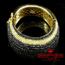 MEN'S 14K YELLOW GOLD FINISH BLACK CANARY LAB DIAMOND CUFF BANGLE BRACELET NEW