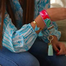 "Lilly Pulitzer Shorely Blue Bellina Key Fob Wristlet (1.25"" width, 9"" length)"