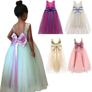 Sequin Bowknot Long Tutu Gown for Kid Birthday Wedding Party Flower Girl Dress