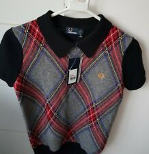Fred Perry Womens Black Short Sleeve Jumper Size 6