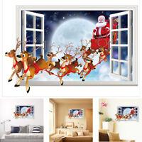 Waterproof Removable Christmas Santa Claus Vinyl Window Wall Sticker Decoration