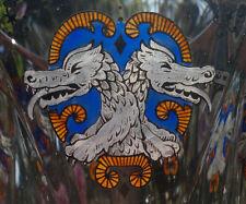 """Bohemian Haida/Steinschönau Art Deco Glass Vase with Asian Dragon Heads 6.5"""""""