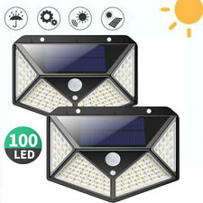 2X Solarleuchte 100 LED Solar Wandleuchte Außen Solarstrahler Bewegungsmelder
