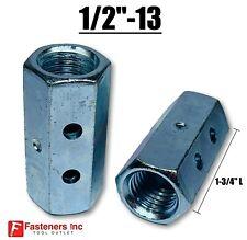 12 13 X W1116 X L 1 34 Hex Threaded Rod Coupling Nut Zinc W Witness Holes