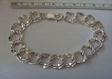 "7.5"" Sterling Silver 11 mm 15 gram Diamond cut Double Link Charm Bracelet"