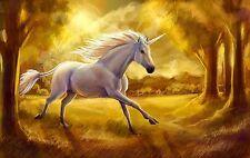 unicornio Cuadro Lienzo Pared 50x70cm in tono dorado,criaturas místicas