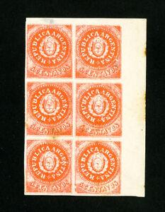Argentina Stamps # 5 Superb OG LH block of 6 Scott Value $300.00