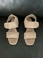 Sesto Meucci Sandals Size 7 Tan Leather Made In Italy Straps Basketweave