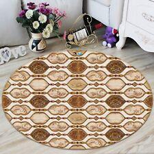 3D Brown Pattern 7 Non Slip Rug Room Mat Round Quality Elegant Photo Carpet UK