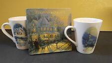 Thomas Kinkade Collectible Coffee mugs with Book The Light of Christmas