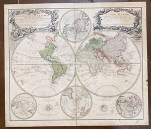 1746 LARGE HOMANN WORLD MAP PLANIGLOBII TERRESTRIS HAND COLORED ANTIQUE