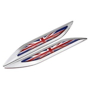 Chrome England English Britain Union Jack Flag Knife Car Fender Emblems Badges