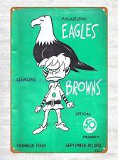 1962 Philadelphia Eagles vs Cleveland Browns Football Program tin sign  decor