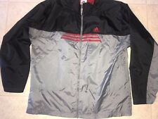 ADIDAS ~ Men's Black Gray Red 3-Striped Track Jacket Light Weight Mesh Lined ~ L