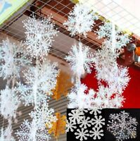 100x Schneeflocken Weihnachtsbaum Schmuck Deko Fenster- Glas Deko Aufkleber Neu