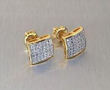 Mens & Ladies 18K Gold 0.5 Ct. Lab Diamond Screw Back Stud Earrings 8mm