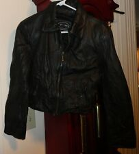 M Ladies Womens TW Tannery West Jacket Coat Black Motorcycle Leather Lined Zip
