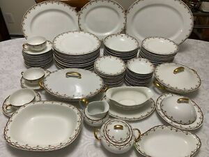Antique T&V French Limoges 99pc Dinnerware Set 12 Pink Rose Swags 11Serv Pcs