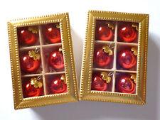 2 x 6  Miniatur Christbaumkugeln i.Karton, aus Glas 10mm ROT glänzend