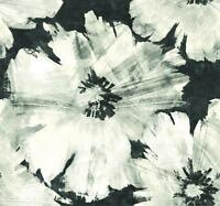 Wallpaper Modern Abstract Silver Gray Taupe Large Floral on Black