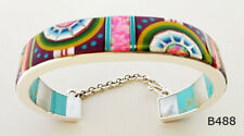 """COMPLICATED MULTICOLOR SUNGOD TURQUOISE INLAY .925 SILVER CUFF BRACELET 6-1/2"""""""