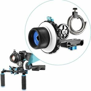 Neewer A-B Stop Follow Focus C2 with Gear Ring Belt for DSLR Cameras + RAILS