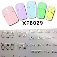 Nail Art 3D Stickers Silver Hot Fashion Shiny Metallic Jewellery Logo XF6029