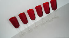 6 Schnaps Korn Likoer Glaeser Glas Wiesenthalhütte Granat rot 60er 70er vintage