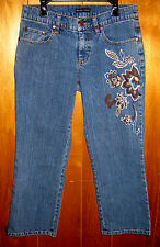 New York and Company Capri JEANS Flower Denim Pants Low Stretch Womens 4 29x23