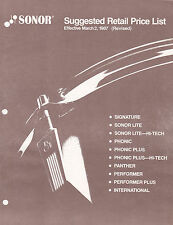 #MISC-0577 - MARCH 2 1987 SONOR DRUM musical instrument catalog price list
