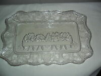 EAPG 1888 Lord's Supper Model Glass Company Bread Plate Easter Original Antique