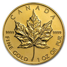 1 oz Gold Canadian Maple Leaf Coin - Random Year Coin - SKU #9