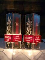 Vtg 2 70's Mid Century Modern MICHELOB Beer Bar Sign Lights Busch MAN CAVE DECOR